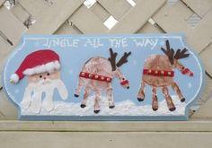 christmas-handprint-art-santa-and-reindeer There is nothing sweeter than Christmas Handprint Art! Little reindeer, wreaths, Santa, candy canes, so many adorable Christmas crafts for kids! Christmas Crafts For Kids, Christmas Activities, Christmas Projects, Winter Christmas, Holiday Crafts, Holiday Fun, Christmas Time, Christmas Gifts, Christmas Ornaments
