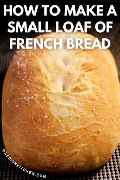 Basic Bread Recipe, Best Homemade Bread Recipe, Homemade French Bread, Bread Recipes, Cooking Recipes, Small Batch Baking, Nutritional Recipes, Single Serving Recipes, Baking Muffins