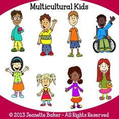 multicultural kids clip art free   MULTICULTURAL KIDS CLIP ART BY JEANETTE BAKER - TeachersPayTeachers ...