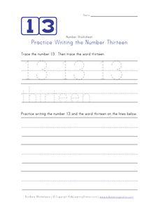 Writing Number Thirteen 13
