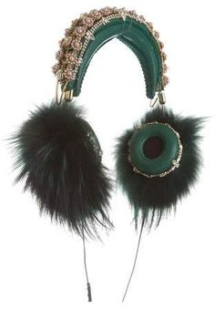 f31c1d92648b Pre-owned Dolce   Gabbana x Frends 2015 Embellished Fur-Accented Headphones