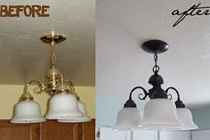 Lighting Makeover On a Budget- summer project! I have the done lights too with that gross brass border...