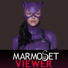 Catwoman Marmoset Viewer, Kenneth Doyle on ArtStation at https://www.artstation.com/artwork/OEmev