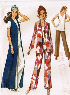 1970's Mod Fashion pattern. Love this long vest. Rhoda wore these on the Mary Tyler Moore show.