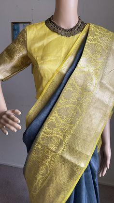Beautiful banarasi linen silk saree with stitched blouse ! Ready to ship in USA! Mirror Work Blouse Design, Cotton Saree Designs, Indian Silk Sarees, Saree Blouse Patterns, Fancy Blouse Designs, Saree Models, Casual Saree, Saree Look, Fashion Design Drawings