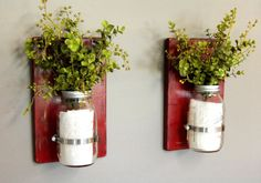 32 oz Mason Jars, Set of 2 Sconces, Wooden Wall Sconces, Wooden Wall Decor, Rustic Charm, Distressed Wood, Mason Jar Decor by CornerOfTheShop on Etsy https://www.etsy.com/listing/191238724/32-oz-mason-jars-set-of-2-sconces-wooden