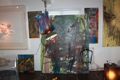 Hanged Man light sculpture, I'll See You When I See You, oil on canvas, clear acrylic Ghost chair by Aaron R. Thomas