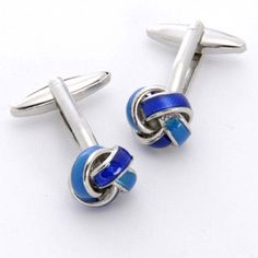 WeddingDepot.com ~ Blue Knot Cufflinks with Personalized Box ~ These cufflinks make perfect groomsmen gifts and add a little pizzazz to any wedding attire.