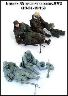 resin assembly  Kits 1/ 35 german ss machine gunners soldiers   Unpainted Kit Resin Model Free Shipping