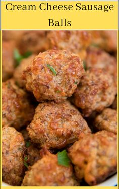 These Cream Cheese Sausage Balls are little savory bites of heaven. Made with pork sausage, cheese & seasonings, Bisquick Sausage Balls are a true classic. Sausage Recipes, Pork Recipes, Cooking Recipes, Cheese Recipes, Easy Recipes, My Favorite Food, Favorite Recipes, Sausage Balls, Diner Recipes