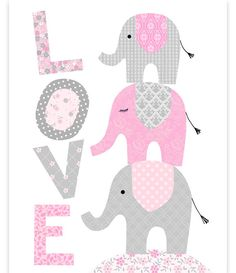 Elephant Nursery, Love Print, Elephants Stacked, Baby Girl Decor, Girl Room Wall Art, Elephant Wall Art, Pink and Grey, Baby Room Art Print by SweetPeaNurseryArt on Etsy