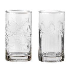2 sodavandsglas med slibninger - H: 11,8 cm   Bungalow - Klik for mere information