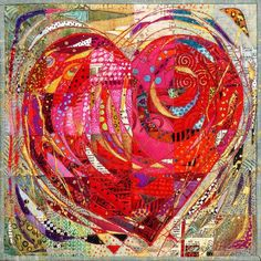This is a quilt! With Open Heart Mini art quilt by Nancy Messier Small Quilts, Mini Quilts, Quilting Projects, Quilting Designs, Quilt Modernen, String Quilts, Miniature Quilts, Landscape Quilts, Contemporary Quilts