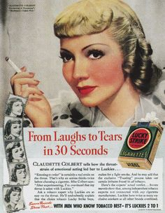 Lucky Strike advertising in 1931 showed the brand's long-time approach of featuring celebrity endorsements. Note the green packaging. The green color was replaced by white during WWII because copper metal used to make green pigment was needed for the war effort.