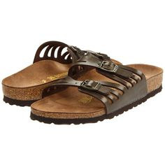 Birkenstock Granada Women's Sandals ($90) ❤ liked on Polyvore featuring shoes, sandals, shock absorbing shoes, famous footwear, narrow sandals, evening sandals and cork sandals