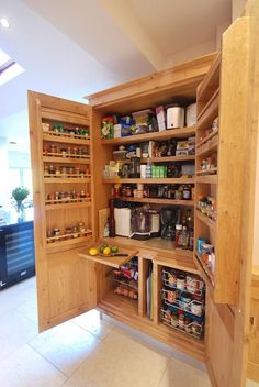 Gallery - Greenheart Kitchens - Custom Kitchens Online UK Our handmade larder cupboard with built in spice racks, shelves and basket drawers, Custom Kitchens, Bespoke Kitchens, Home Kitchens, Handmade Kitchens, Kitchen Larder Cupboard, Simple Kitchen Cabinets, Cupboard Shelves, Cupboard Design, Pantry Design