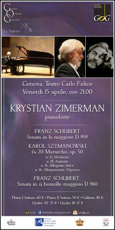 Krystian Zimerman, pianoforte | Venerdì 15 aprile 2016, Teatro Carlo Felice, #Genova #gog1516