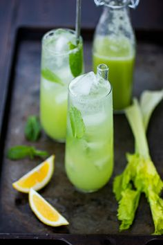 Mint and Celery Soda. Mint and Celery Soda - Fresh celery juice mixed with muddled mint sugar and lemon juice. Gin is optional! Healthy Lemonade, Healthy Drinks, Stay Healthy, Healthy Eats, Refreshing Cocktails, Summer Drinks, Cocktail Drinks, Juice Smoothie, Smoothies