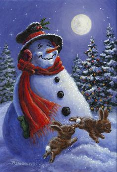 A Snowman Christmas main page Christmas Scenes, Christmas Pictures, Christmas Snowman, Winter Christmas, Vintage Christmas, Christmas Holidays, Christmas Crafts, Xmas, Frosty The Snowmen