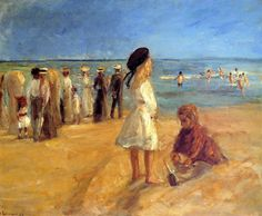 Beach Scene In Nordwijk,  Max Liebermann (1847 – 1935, German) I AM A CHILD-children in art history
