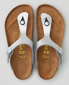 AEO Birkenstock Gizeh Sandals, Women's, Size: 42 (US 11), Silver