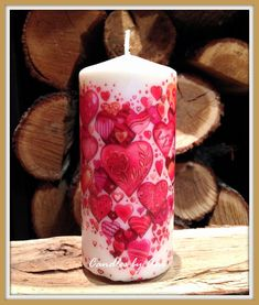 VALENTINE candle, DECORATED candle, Handmade candle, Pillar candle, Unique candles-Red HEARTS #1126