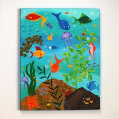 Whimsical Fish Art :)    HAPPY FISH   Tropical Fish Painting   16x20 ACRYLIC  by nJoyArt