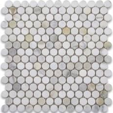Calacatta Gold Penny Round Mosaic Tile 3/4 Inch Polished Calcutta