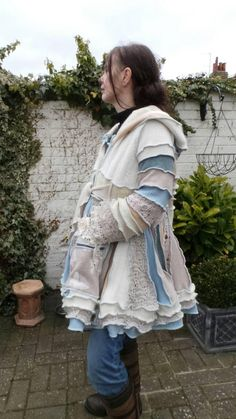 Pixie Hooded Coat. Upcycled sweater coat. Hippy clothing. Boho