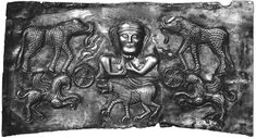 Possibly goddess Maeve, elephants, griffins and a lion