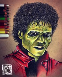 """""""Michael Jackson zombie from Thriller!! Prismacolor pencils on earthbound recycled paper . This piece took me around 5 hours."""""""