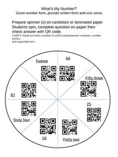 Math Center common core Number Words QR codes spinners Writing Numbers, Math Numbers, Teacher Observation, 2nd Grade Math, Second Grade, Math School, Number Words, Blended Learning, Math Stations