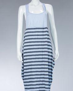 Animale ladies long dress striped motif - Blue #WomenDress #Dress #SummerDress #Animale #WomenWear #WomenFashion #MotifDress #LightDress #SummerDress