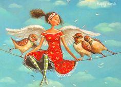 Mariana Kalacheva - (Woman and birds on a Tightrope)