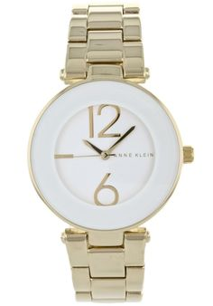 Anne Klein Ladies' Classic Oversized Bezel Watch In White & Gold - Beyond the Rack Stainless Steel Bracelet, Stainless Steel Case, Beyond The Rack, Men Looks, Anne Klein, Michael Kors Watch, Gold Watch, Quartz, White Gold