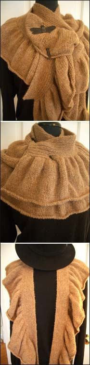 Free Pattern; knit Flickering Ruffle Scarf
