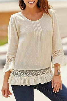 Fashion Apricot Lace and Ruffles Sexy Sheer Gauze Blouse Stylish Tops, Casual Tops For Women, Lace Tops, Chiffon Tops, Bluse Outfit, Over 60 Fashion, Kids Frocks Design, Sewing Blouses, Blouse Online