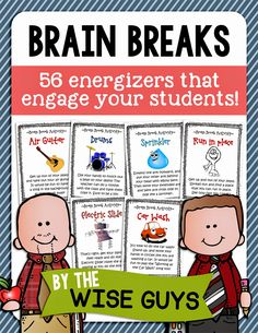 Brain Breaks for the Elementary Classroom! 56 Brain Break Activity Cards to energize your students! Classroom Behavior, School Classroom, Classroom Management, Behavior Management, Classroom Ideas, Classroom Environment, Classroom Organization, Classroom Cheers, Classroom Procedures