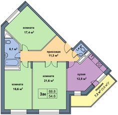 Планировка квартиры типа '3а' в новостройке по адресу Дом №1