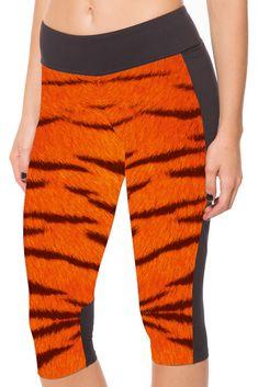 Men and women Calf-length pants Orange Leopard digital printing Slim thin high-elastic side pocket leggings Best Leggings, Capri Leggings, Women's Leggings, Cute Tights, Waist Workout, Yoga Capris, Athletic Pants, Leggings Fashion, Workout Leggings