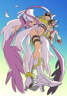 Kari with Angewomon Digimon Adventure Tri., Digimon Wallpaper, Manga Anime, Anime Art, Gatomon, Character Art, Character Design, Digimon Tamers, Digimon Frontier
