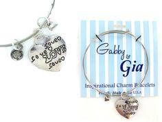 Expandable Adjustable Bangle Charm Bracelet silver love heart girl great gift