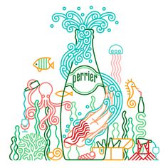 Illustrations to promote Perrier in social networks, 2015.
