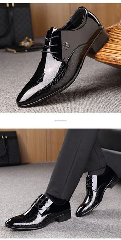 Men dress shoes italian designer luxury patent leather pointed toe for – kidenhome Formal Shoes For Men, Work Shoes For Men, Tuxedo Shoes For Men, Official Shoes, Gentleman Shoes, Fancy Shoes, Stylish Mens Outfits, Leather Shoes, Patent Leather