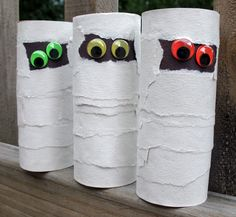 Toilet paper roll mummies-Glue a small rectangle of black construction paper towards top of roll then wrap and glue strips of white construction paper around rest of tube making sure to leave black paper exposed. Glue google eyes on and youre done.