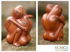 Carved by hand by Nyoman Karsa, this suar wood sculpture demonstrates the artisan's consummate ability to evoke emotion. Portraying a man and woman in a loving embrace, they are intertwined in a sculpture that represents the united soul of love.