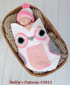 Baby Knitting Pattern Owl Cocoon Papoose Hat Knitting by shifio, $3.99