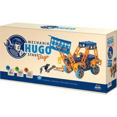 SEVA Mechanik HUGO – Bagr je stavebnice s nářadím a přehledným návodem, podle kterého postavíte bagr se zvedací lžící.