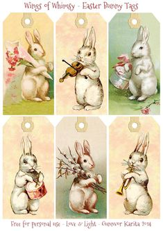 Wings of Whimsy: Vintag Easter Bunnies Tags -  free for personal use