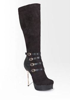 bebe | Harper Metal Pin Heel Knee High Boot